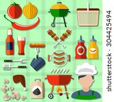 barbecue and picnic icons set...