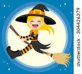 cute little blonde girl witch... | Shutterstock .eps vector #304426379