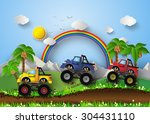 monster truck racing in... | Shutterstock .eps vector #304431110