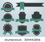 vector set of retro labels and... | Shutterstock .eps vector #304442846