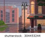 rainy city. vector flat cartoon ... | Shutterstock .eps vector #304453244
