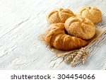 croissant and small loaf with...   Shutterstock . vector #304454066