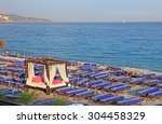 lot of deck chairs with vip o...   Shutterstock . vector #304458329