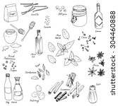 spices  vector food set  ink... | Shutterstock .eps vector #304460888