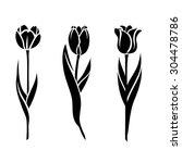 tulips silhouette | Shutterstock .eps vector #304478786