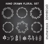vintage set of hand drawn... | Shutterstock .eps vector #304480160