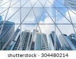 reflection of urban skyline on... | Shutterstock . vector #304480214