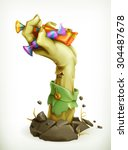zombie hand with candy  vector... | Shutterstock .eps vector #304487678