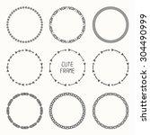 set of hand drawn ethnic arrows ... | Shutterstock .eps vector #304490999