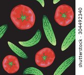 tomato and cucumber background   Shutterstock .eps vector #304492340