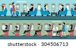 a passenger plane with flight... | Shutterstock .eps vector #304506713
