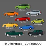 Different Car Types Icons Set...