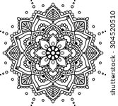 simple floral mandala  black on ... | Shutterstock .eps vector #304520510