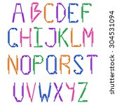 the english alphabet. colorful... | Shutterstock .eps vector #304531094
