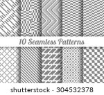 set of 10 abstract patterns.... | Shutterstock .eps vector #304532378
