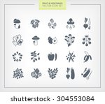 fruit and vegetables icon set.... | Shutterstock .eps vector #304553084