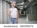 little repairman on a... | Shutterstock . vector #304558274