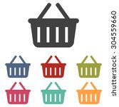 shopping basket icon set | Shutterstock .eps vector #304559660