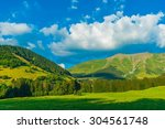 french alps in summer. green...