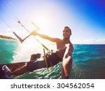 kiteboarding. fun in the ocean  ... | Shutterstock . vector #304562054