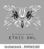 ethnic patterned white head of... | Shutterstock .eps vector #304565180