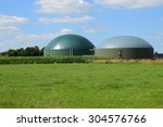 biogas plant for renewable... | Shutterstock . vector #304576766