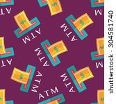 atm flat icon seamless pattern...