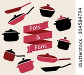 colorful cookware icon set.... | Shutterstock .eps vector #304584794