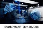 double exposure of businessman... | Shutterstock . vector #304587008