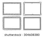 vintage photo frame in doodle... | Shutterstock .eps vector #304608380