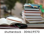 pen pencil study textbooks | Shutterstock . vector #304619570
