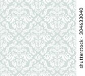 damask seamless blue and white... | Shutterstock .eps vector #304633040