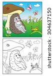 coloring book or page cartoon... | Shutterstock .eps vector #304637150