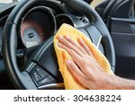 hand cleaning car steering... | Shutterstock . vector #304638224