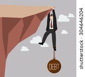 businessman try hard to hold on ... | Shutterstock .eps vector #304646204