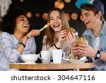 cheerful multiracial friends... | Shutterstock . vector #304647116
