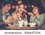 cheerful multiracial friends... | Shutterstock . vector #304647254