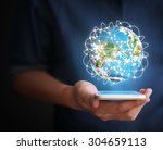 touch screen smartphone in hand | Shutterstock . vector #304659113