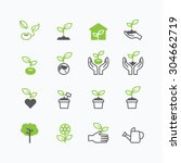 plant and sprout growing icons... | Shutterstock .eps vector #304662719