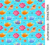 seamless sea life pattern with... | Shutterstock .eps vector #304667804