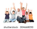 group of children and teacher... | Shutterstock . vector #304668050