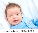 portrait of a 2 moths old baby... | Shutterstock . vector #304670624