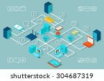 vector isometric data... | Shutterstock .eps vector #304687319