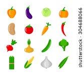 set of vegetables. flat vector...   Shutterstock .eps vector #304688066