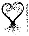 tattoo heart isolated on white... | Shutterstock .eps vector #304688084