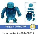 Evil Cartoon Ice Rock Monster...