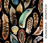 watercolor colorful feather... | Shutterstock . vector #304694114