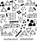 hand drawn aztec tribal... | Shutterstock .eps vector #304694360
