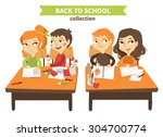 back to school vector set with... | Shutterstock .eps vector #304700774