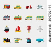 transport flat icons set.... | Shutterstock .eps vector #304701494